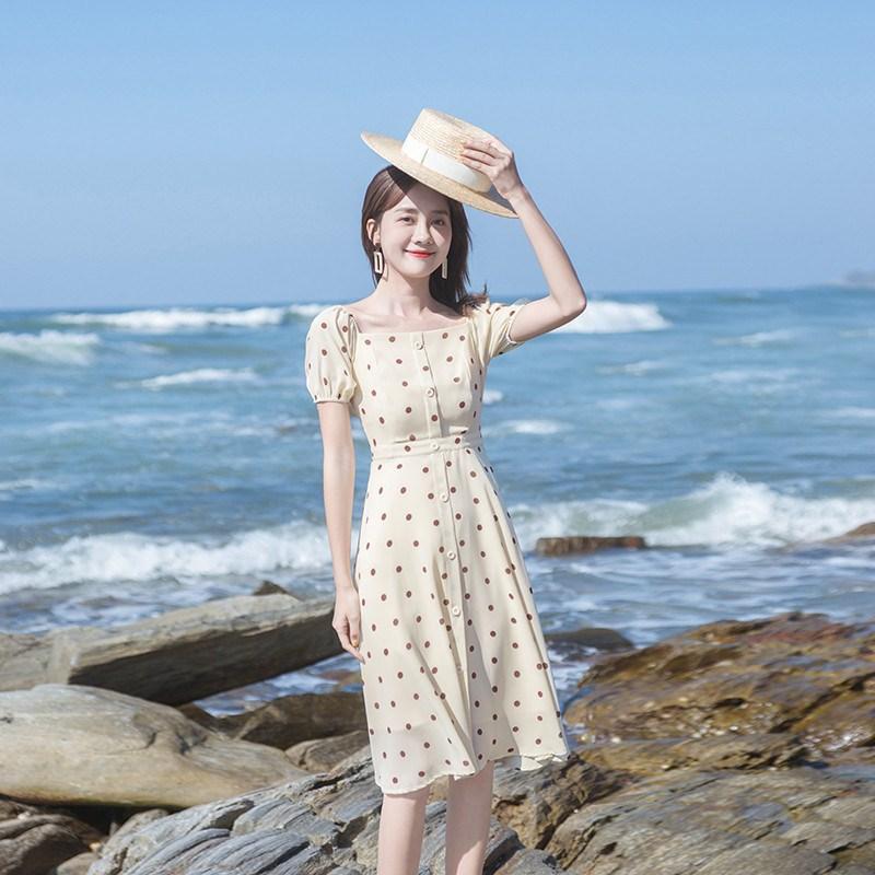 10月21日最新优惠2019流行新款很仙的法国小众气质复古初恋裙温柔波点连衣裙夏裙子