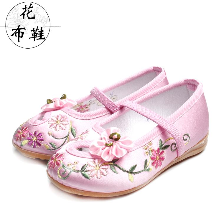 包邮老北京手工儿童布鞋女童民主风绣花鞋牛筋底防滑演出鞋亲子鞋
