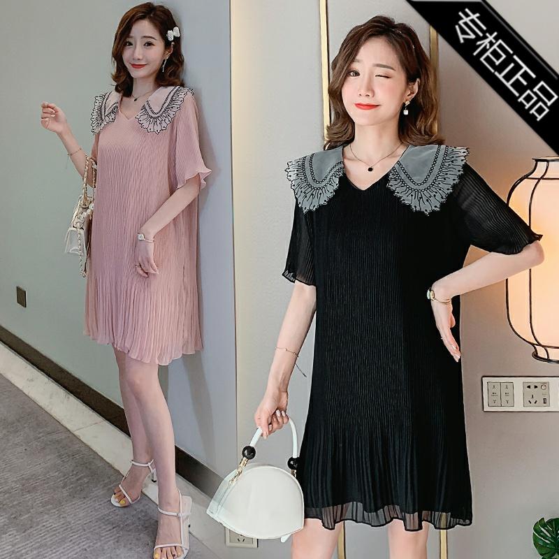 专柜品牌夏季孕妇孕妇装韩版上衣孕妇裙长袖宽松大码打底连衣裙