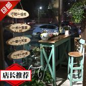 地中海实木吧台桌做旧桌椅组合复古酒吧吧台隔断阳台小吧台桌家用