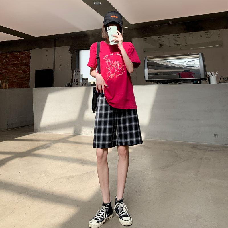 黑白格子短裤女夏季薄款高腰宽松直筒a字阔腿休闲5分五分运动中裤