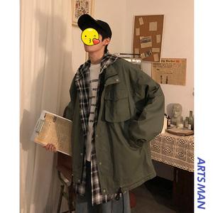 领5元券购买@港仔文艺男 2019春季情侣港风韩版潮流假两件外套bf男士工装夹克