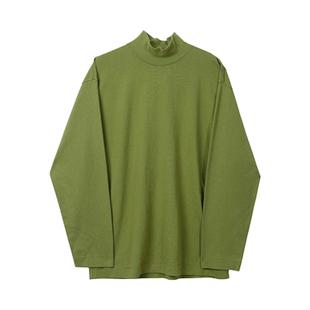 @港仔文藝男  秋冬季純色長袖T恤情侶韓版潮寬鬆體恤半高領打底衫