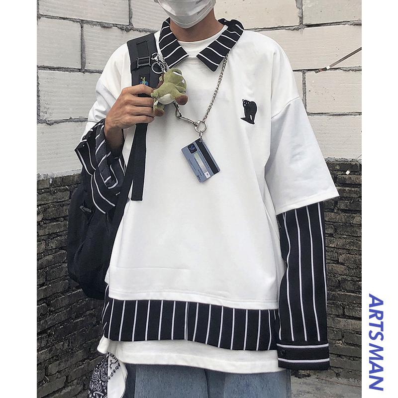 @港仔文艺男 韩国bf复古条纹拼接假两件刺绣小熊长袖衬衫学生衬衣(用51元券)