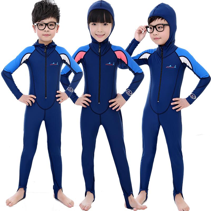 儿童防晒泳衣长袖学生女童男童连体游泳衣中大童泳装速干潜水服满170.00元可用85元优惠券