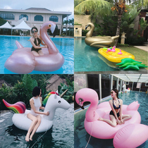 Inflatable thickened cartoon floating drain toy flamingo increase floating bed seaside adult pool Ride swimming Circle