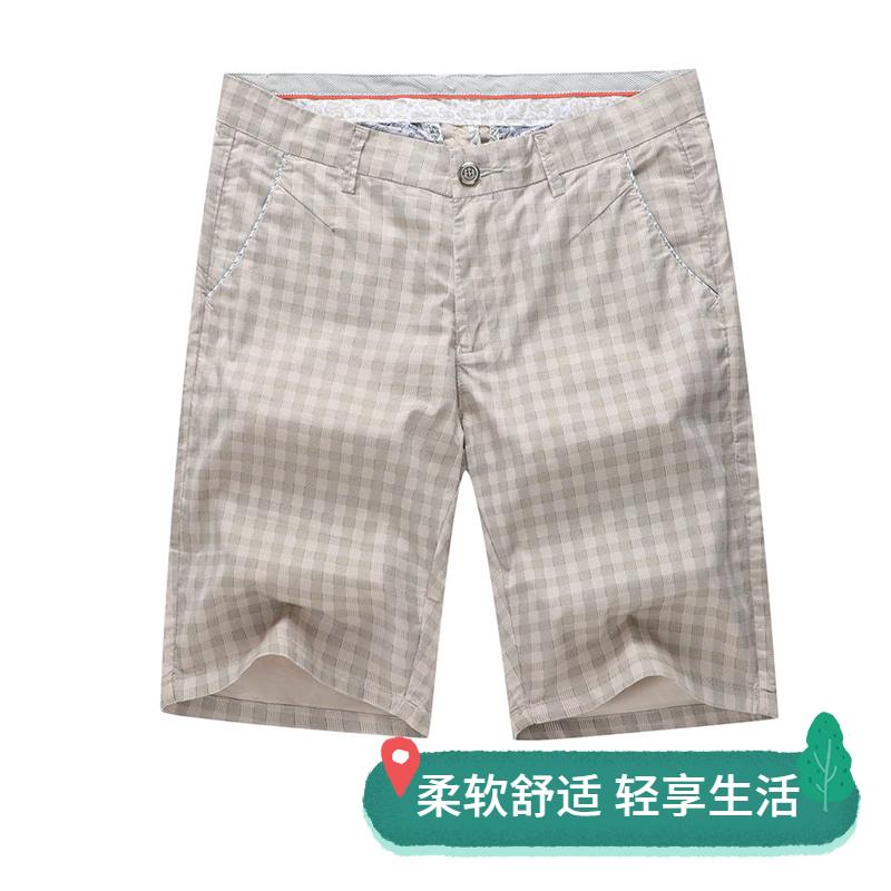 Mens spring and summer shorts Plaid casual Plaid casual cotton thin 5-inch pants hot pants