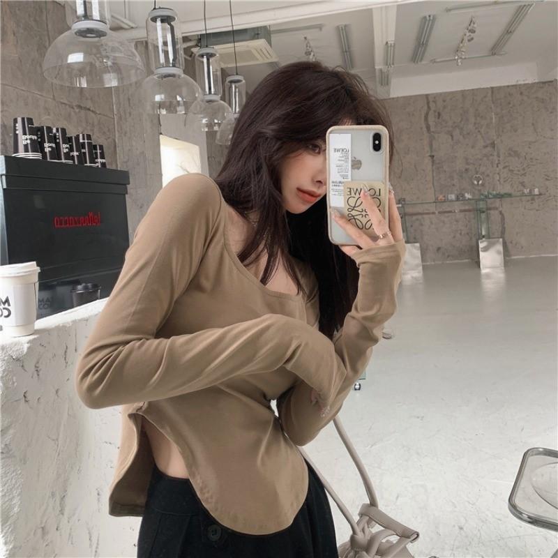 中國代購 中國批發-ibuy99 T恤女 U领设计感小众纯色长袖T恤女装2021春装新款打底衫不规则内搭上衣