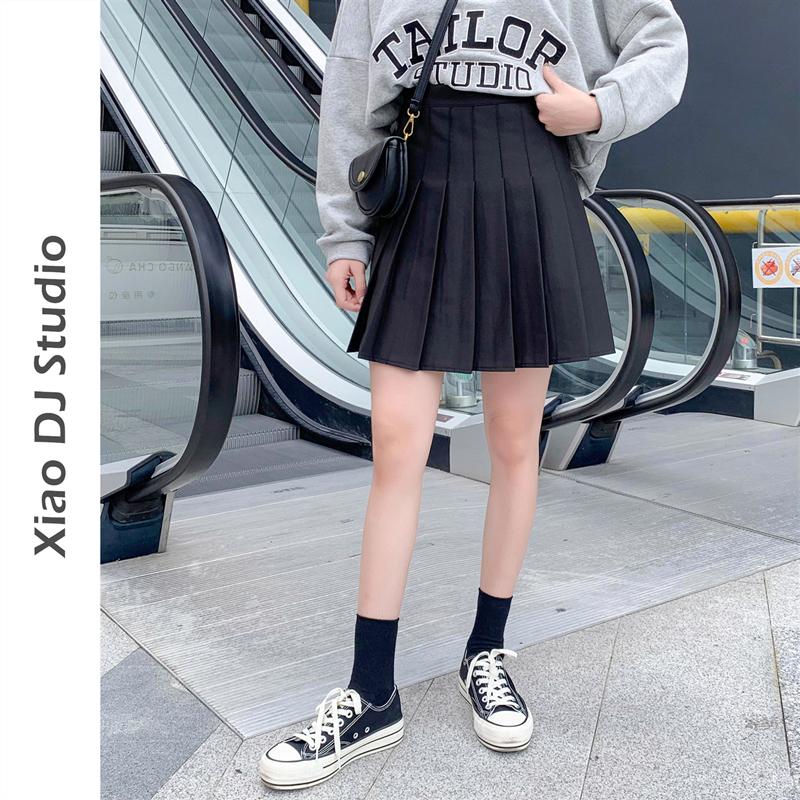 【高个子的短裙】加长黑色百褶裙女春秋短裙高腰a字 显瘦半身裙夏