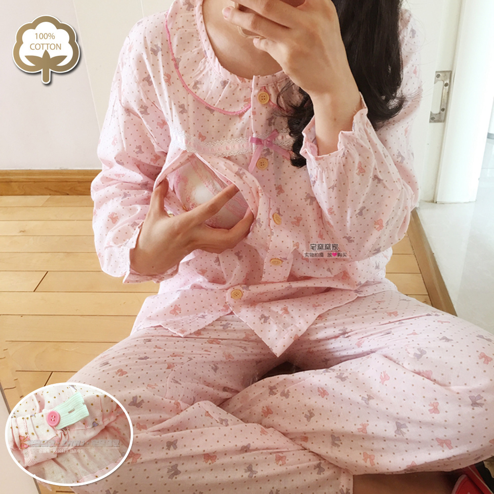 [big loves bow] double layer gauze moon dress with sucking mouth, sweat absorption and air permeability cotton household suit