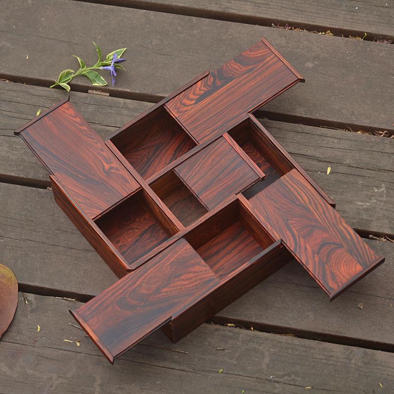 紫光檀红酸枝收纳盒印章珠宝首饰化妆品盒桌面 红木仿古老外礼品