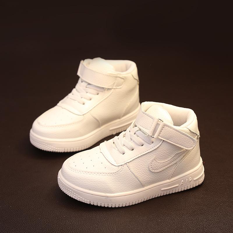 Весной 2016 новых детей Повседневная обувь кожа Hi-Топ кроссовки для мальчиков моды обувь кроссовки