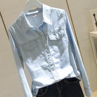 百搭打底上衣浅蓝 显瘦中长款 韩版 外套女长袖 2019春秋新款 牛仔衬衫