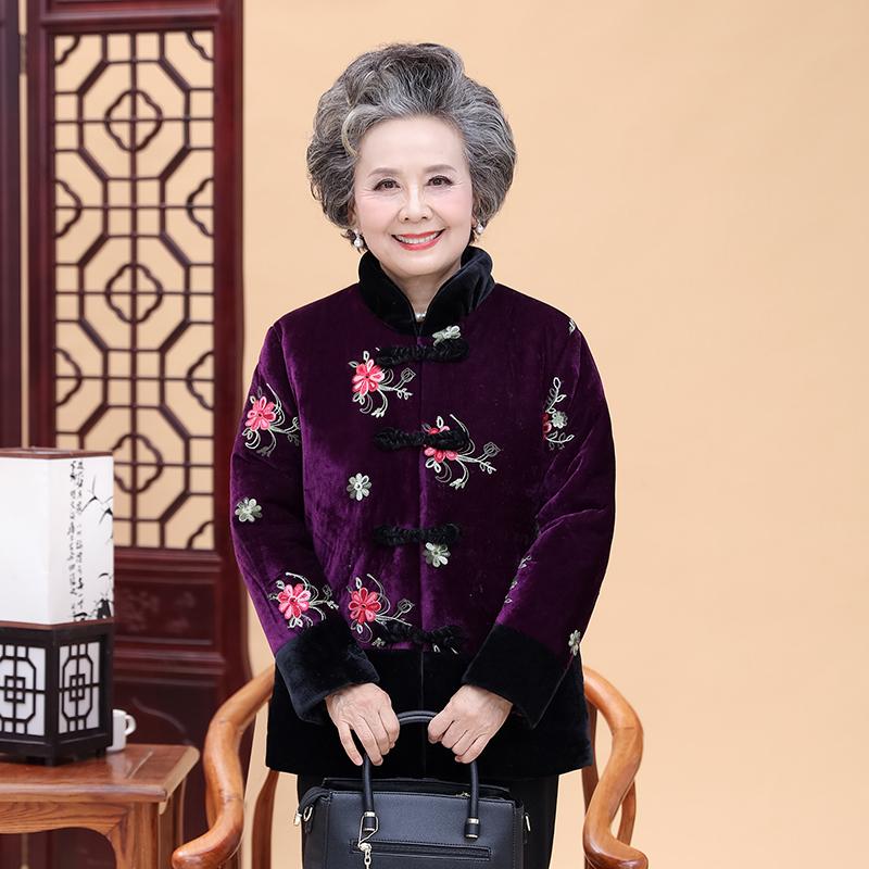 新款中老年女装冬装棉衣60-70岁奶奶装加绒加厚棉服妈妈唐装棉袄