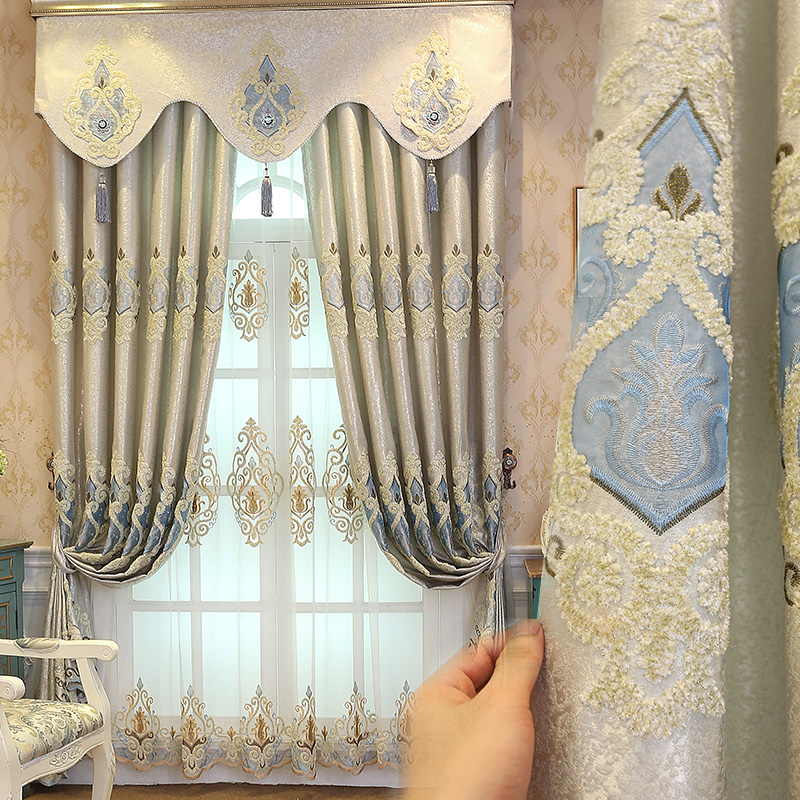 欧式豪华奢华客厅高档大气遮光卧室成品窗帘绣花布落地窗阳台飘