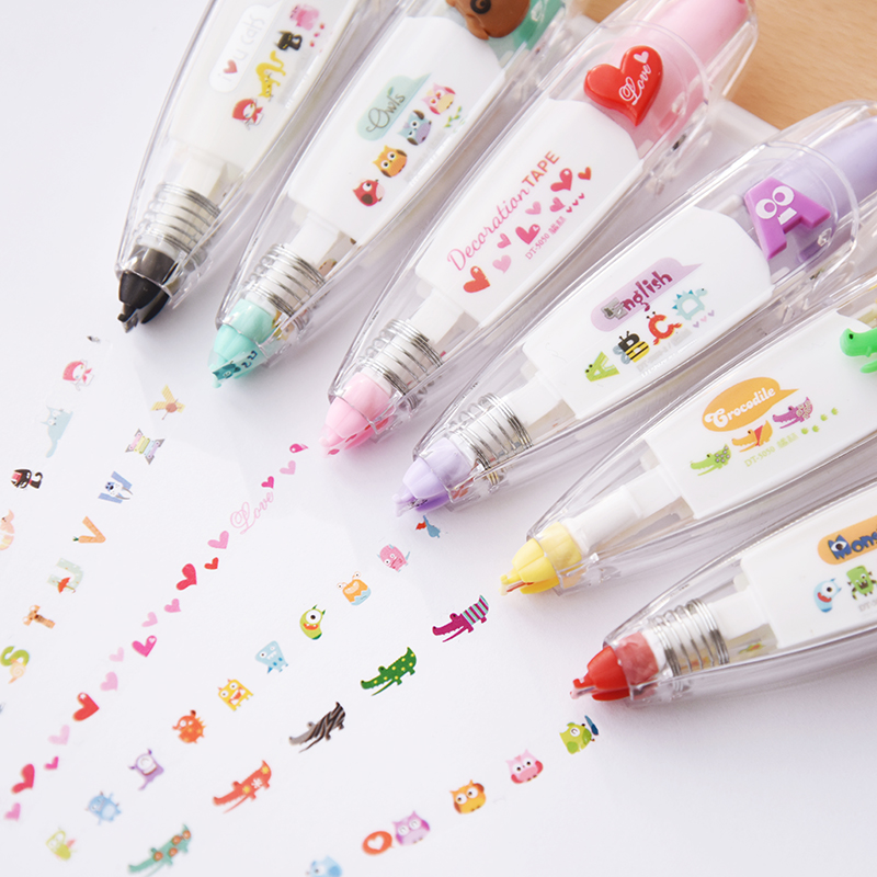 10-12新券三年二班●韩国文具 创意按压式花边修正带 可爱修饰带 日记装饰