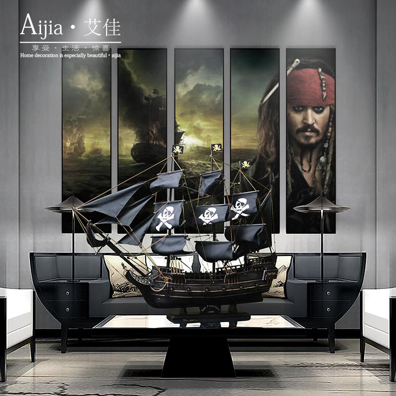 加勒比海盗船模型实木黑珍珠号小型帆船摆件毕业礼物装饰一帆风顺