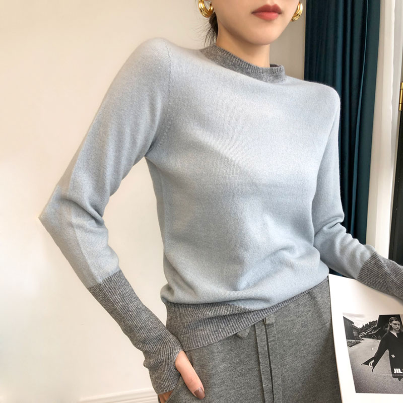 孔雀蓝羊毛针织衫ALLER法式复古圆领打底套头毛衣内搭上衣女秋季
