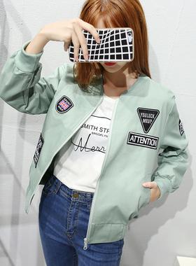 现货实拍 2018春季新款韩版百搭宽松学生长袖贴布棒球服外套女