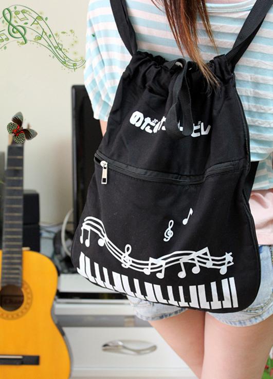 音乐饰品 时尚韩版女包钢琴交响情人梦多功能大背帆布学生包包