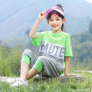 童装女童夏装2019新款超洋气套装潮女中大童夏季运动装时髦两件套