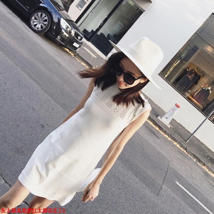 香港miu缪家女装夏季新款气质修身显瘦中裙女背心直筒针织连衣裙