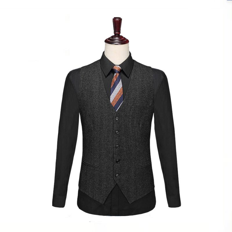 New British Vintage wool tweed vest European and American mens suit vest business casual formal vest