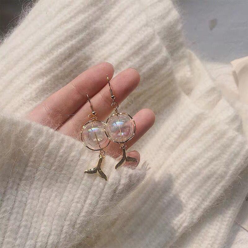 法式人鱼泪泡泡玻璃球耳环女冬季款精致耳坠超仙耳饰气质韩国耳夹图片