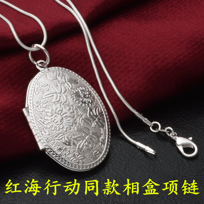 Red Sea Action same necklace with photo small object Pendant 925 silver couple photo Necklace
