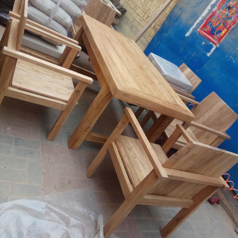 可定制漫咖啡桌椅老榆木老门板做旧实木6人8人10人长桌会议桌餐桌