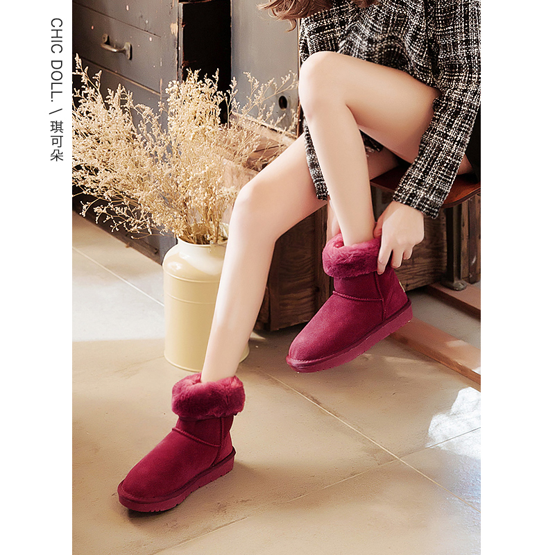 Pink Medium Tube snow boots, womens leather top short boots, short tube low top, one foot, winter womens shoes, waterproof Plush bread shoes