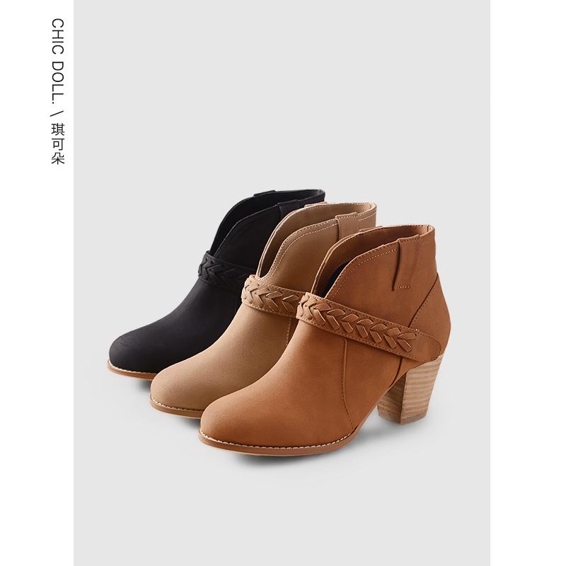 【全场清仓】冬季短靴女粗跟中跟春秋单靴2017新款韩版百搭高跟及