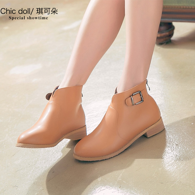 [Full clearance] short boots womens spring and autumn fashion Martin boots, large size womens shoes, single boots, flat bottomed womens boots and nude