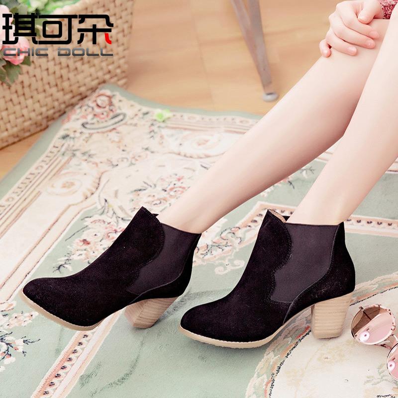 【全场清仓】秋冬季新款短靴女舒适圆头高跟女单靴时尚粗跟女鞋靴
