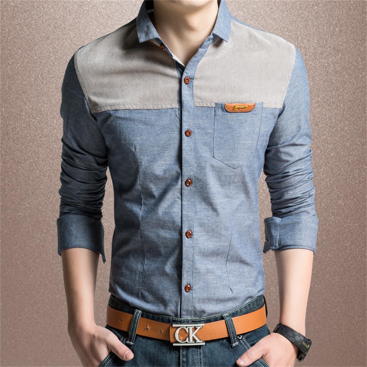男士短袖衬衫韩版修身纯棉长袖青年牛仔加厚商务休闲加绒衬衣大码