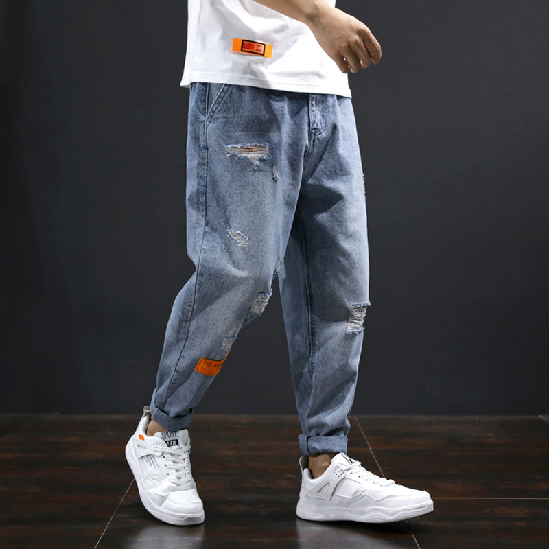 Spring and summer new Japanese mens jeans mens wear bullet free hole loose Harlan pants mens jeans 8823