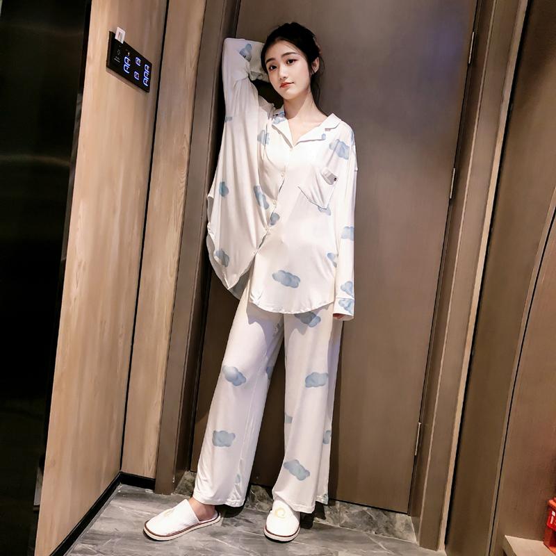超仙~长袖睡衣女薄款春夏秋莫代尔开扣韩版家居服月子服大码睡衣