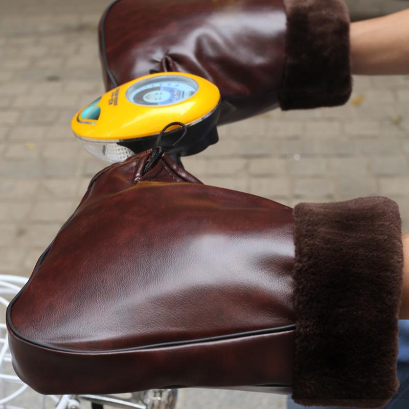 冬季电动车把套手套摩托车把套加厚防风防水防寒保暖护手PU皮男女
