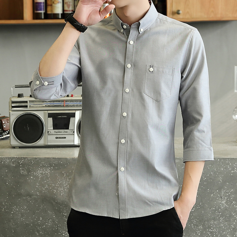 New mens Linen 7-sleeve shirt mens Korean Short Sleeve Cotton Linen 7-point shirt