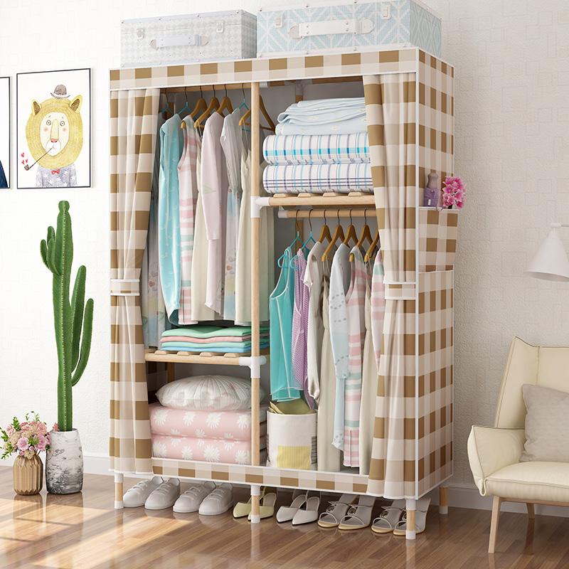 出租房衣柜现代简约实木组装布艺衣橱家用卧室牛津布简易布衣柜子
