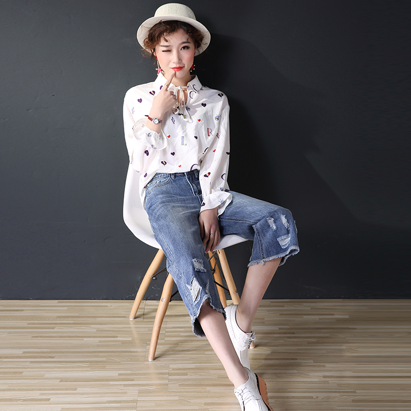 2 jeans women 018 summer new Korean seven point pants loose large wide leg pants slim and slim straight pants