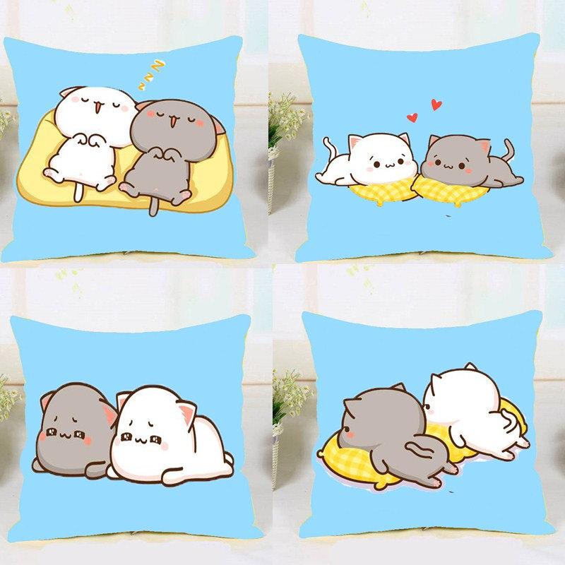 新款个性十字绣抱枕卡通动漫可爱简单绣靠背情侣猫一对萌萌自己绣
