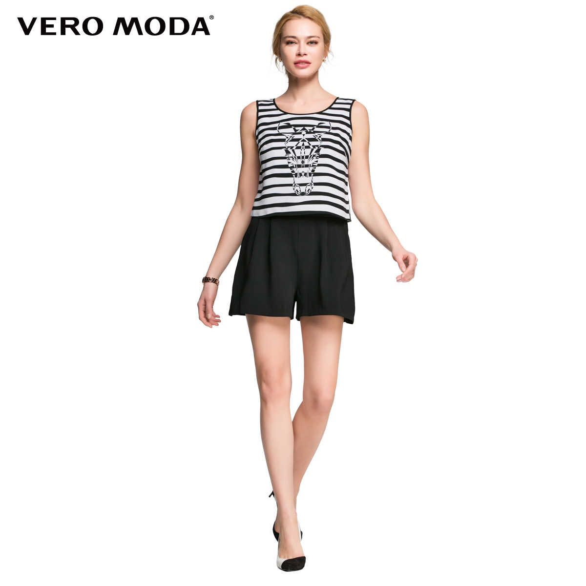 Vero Moda store withdrawal temperament only workplace Zebra Print striped Jumpsuit shorts
