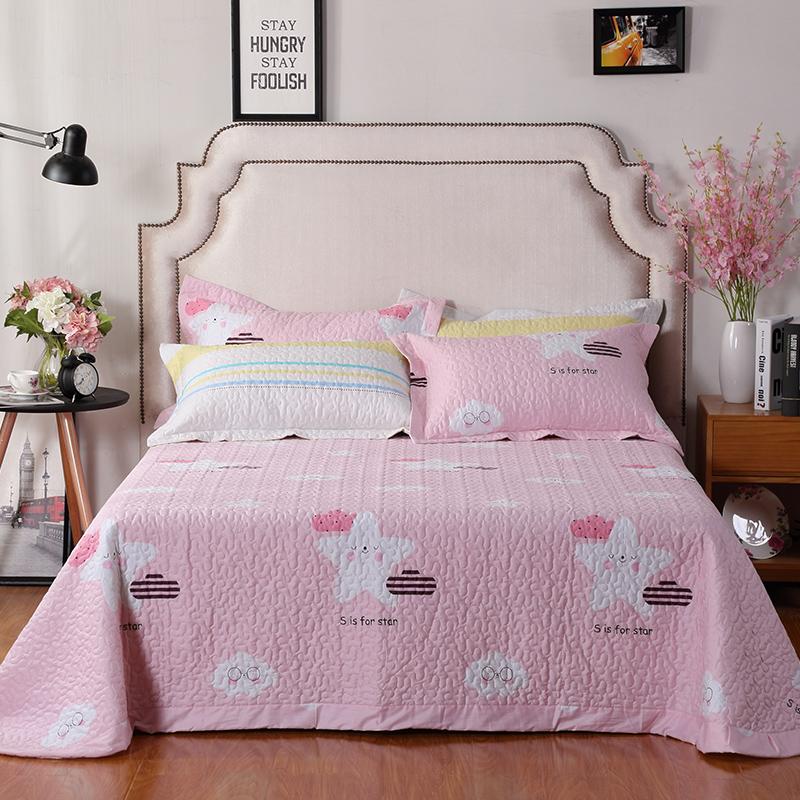 韩国床盖三件套单件纯棉田园清新简约欧式夹棉床罩绗缝被厚床单