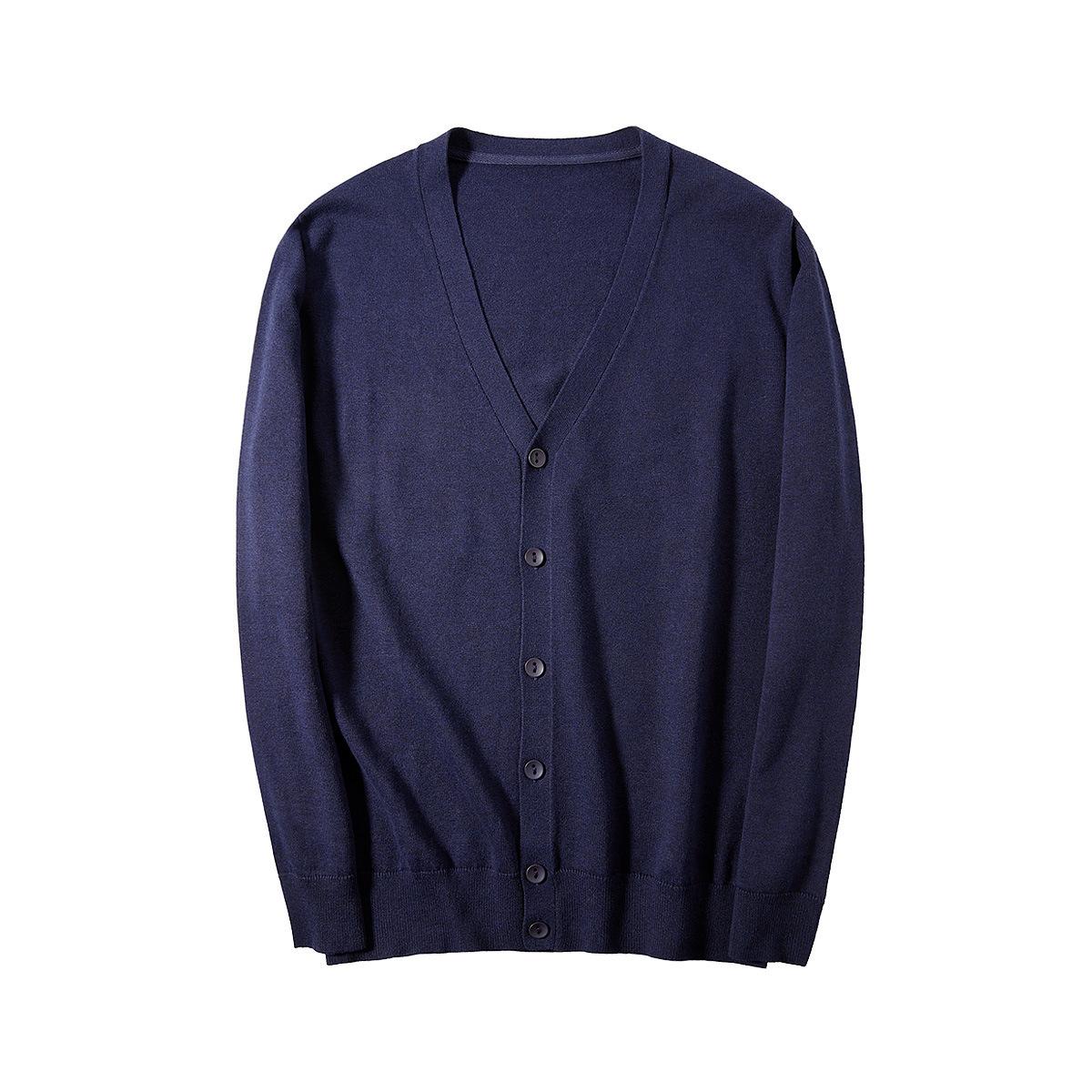Mens autumn t-shirt mens sweater multi color optional mens knitting button solid color cardigan Blum spun V-neck