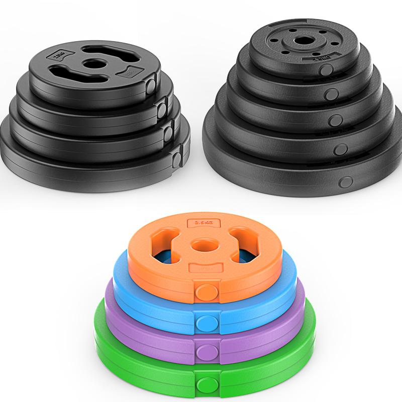 环保足重包胶哑铃杠铃片2.5kg5公斤4.5KG10公斤/摇臂配重片公斤价