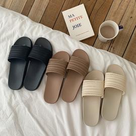 细细条 日式复古简约素色拖鞋女夏居家室内外穿防滑洗澡一字凉拖