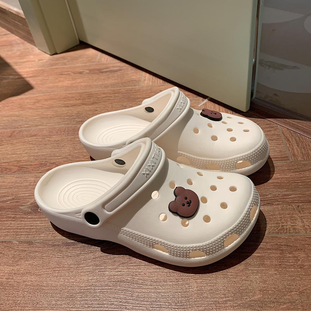细细条 洞洞鞋女ins潮防滑可爱少女心包头沙滩凉拖鞋夏外穿护士鞋
