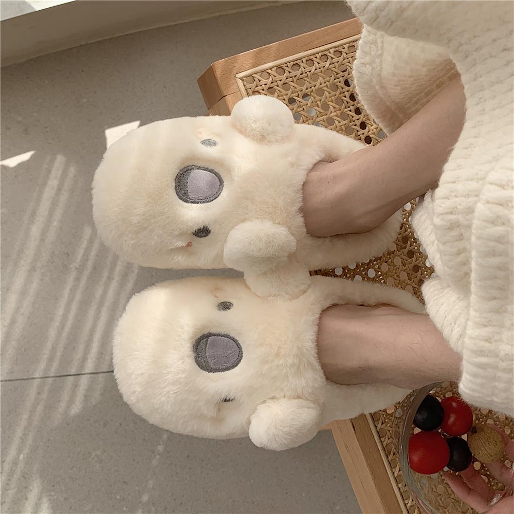 细细条 可爱卡通棉拖鞋女秋冬室内居家用防滑厚底毛绒月子棉鞋ins