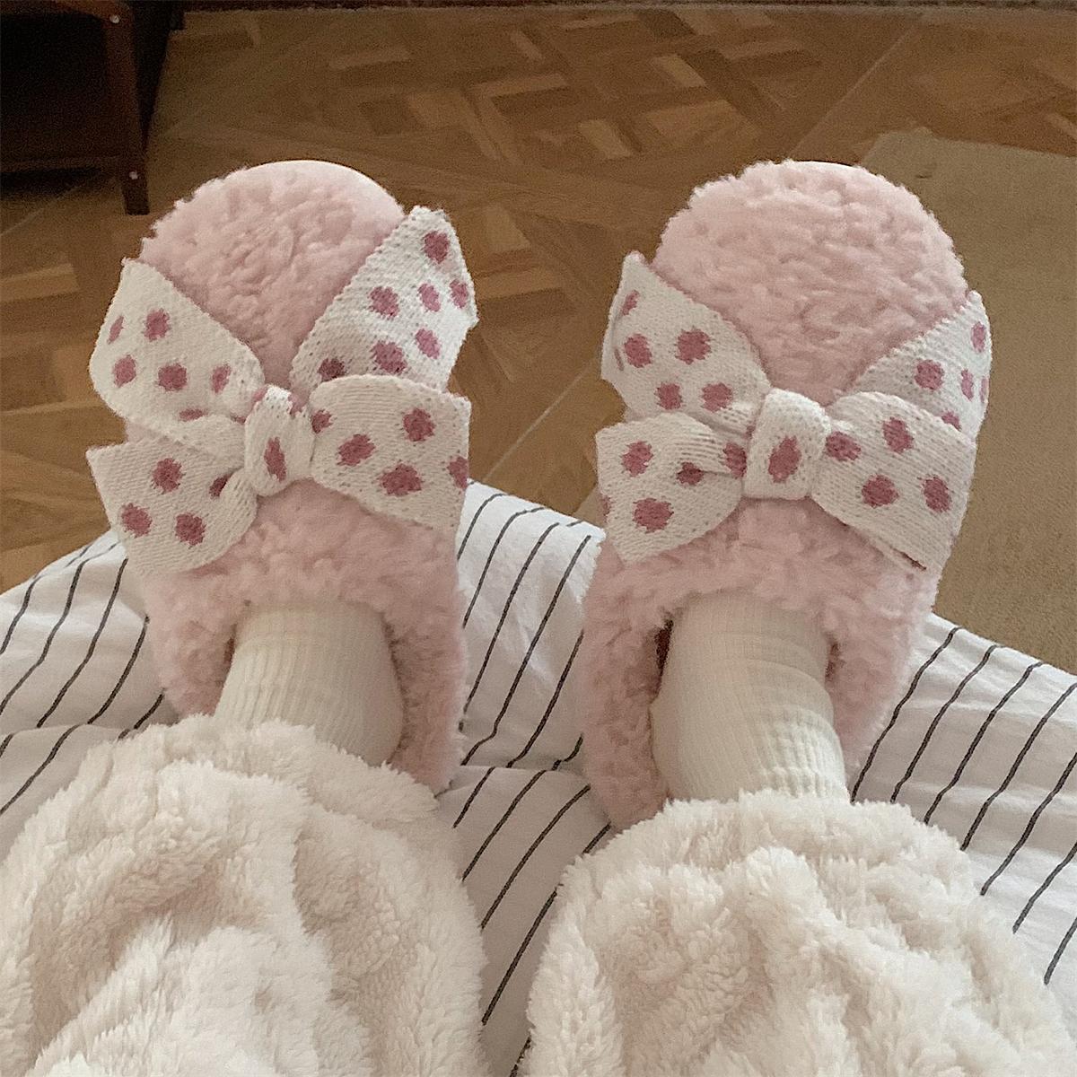 细细条 少女心ins蝴蝶结棉拖鞋女冬居家可爱毛绒绒防滑保暖月子鞋